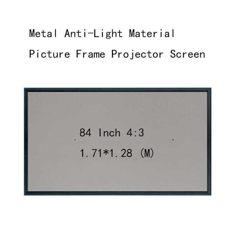 Écrans de projection Minceyou 1 cm Cadre 84 pouces 4: 3 Picture murale Métal Matière anti-lumière Matière HD Écran de projecteur HD