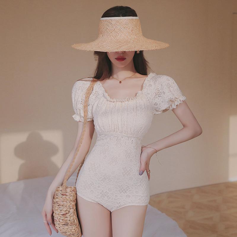 Triquini Femme 2021 Bikini Maillot de bain Une pièce Badpak Plus Taille Maillot de bain Mayo Fenée Femme 1 Tendance Coréen Solyester Solyester Ruffle One-pièce S