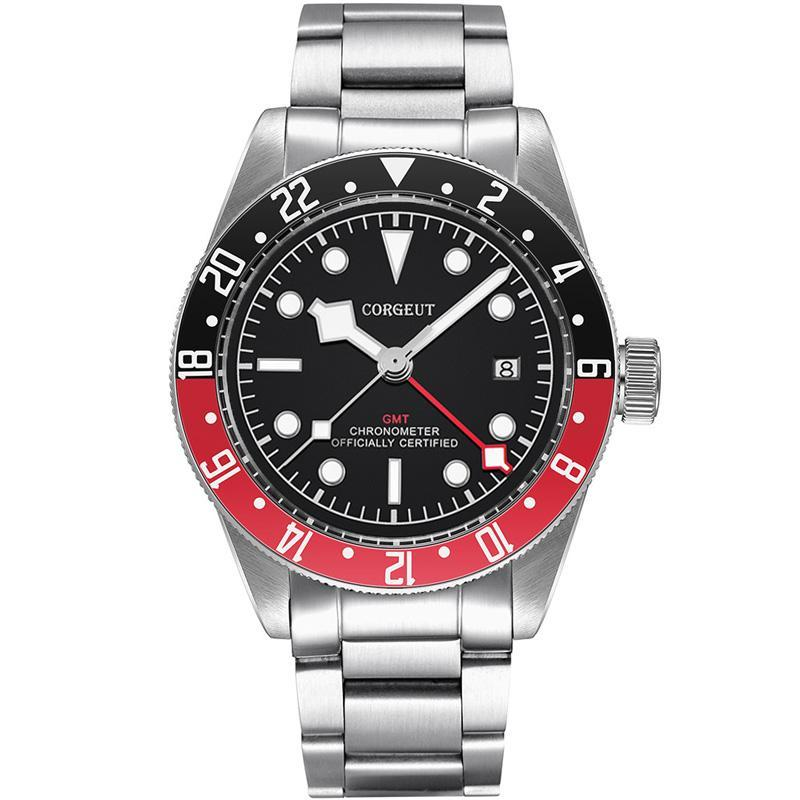 Relógios de pulso corgeut top top marca mecânica relógio de safira gmt gmt automático militar esportes relógio de couro mergulhador