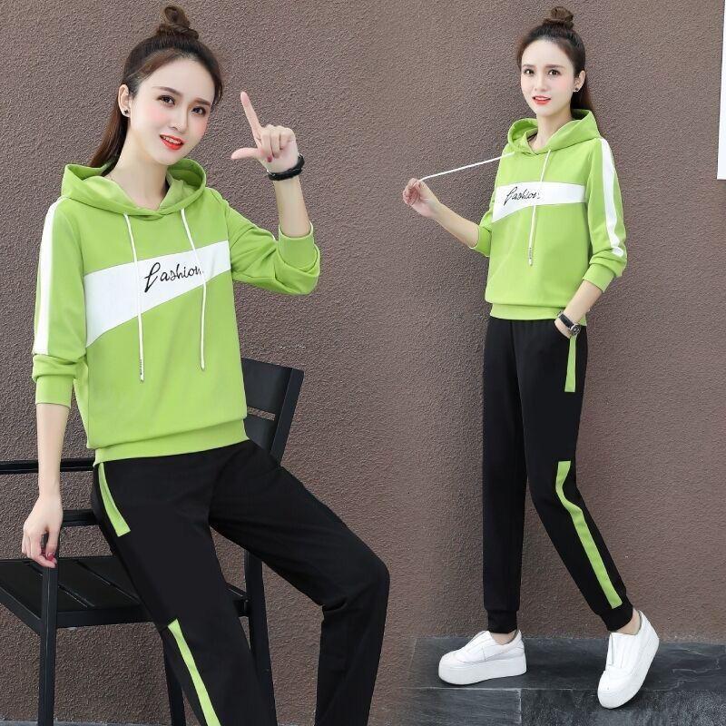 Lazer Sportswear Set Mulheres 2021 Primavera e Outono Nova Moda Coreana Solta Sweaterg3GK
