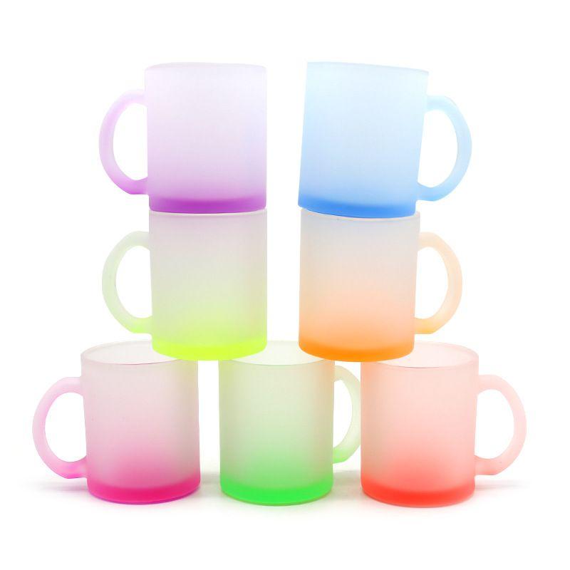 12Oz Sublimation Leerer Wärmeübertragung Fluoreszierende Becher Frosted Glass Cups Haushalt Griff Wassertasse Personalisierte DIY Geschenk