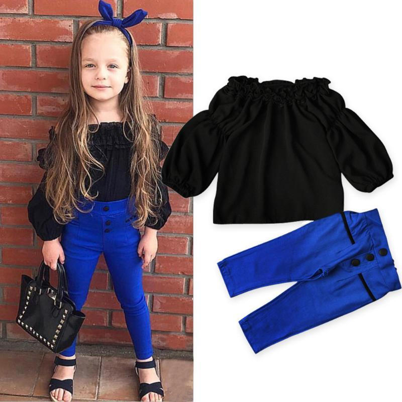 Toddler Baby Girls Off Shoulder Tops Pants 2Pcs Set Outfits Kids Girl Clothes Suit Fashion Children Trousers Ropa Niña Clothing Sets