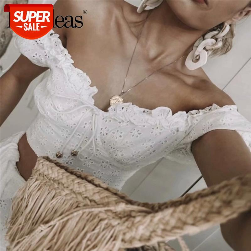 Moda magro Blusa Feminina França Lace Hollow Out Mulheres Cropped Blusa Vintage Center Bandage Blusas Drop Shipping # 4E8R