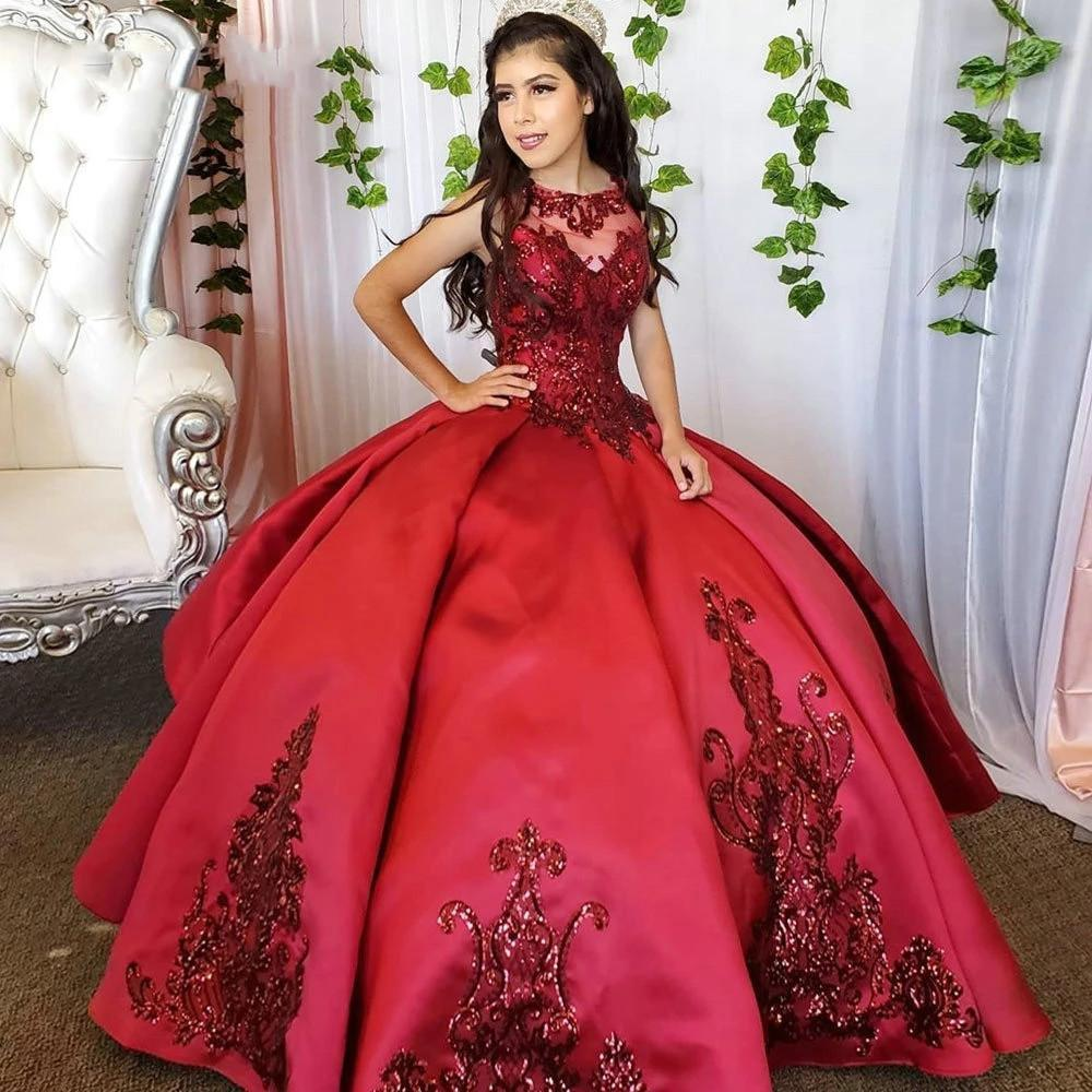 Burgundy sequins stain Quinceanera Dresses 2021 jewel neck lace-up Girls Birthday Party Gown Sweet 15 16 Dress prom Ball GownS