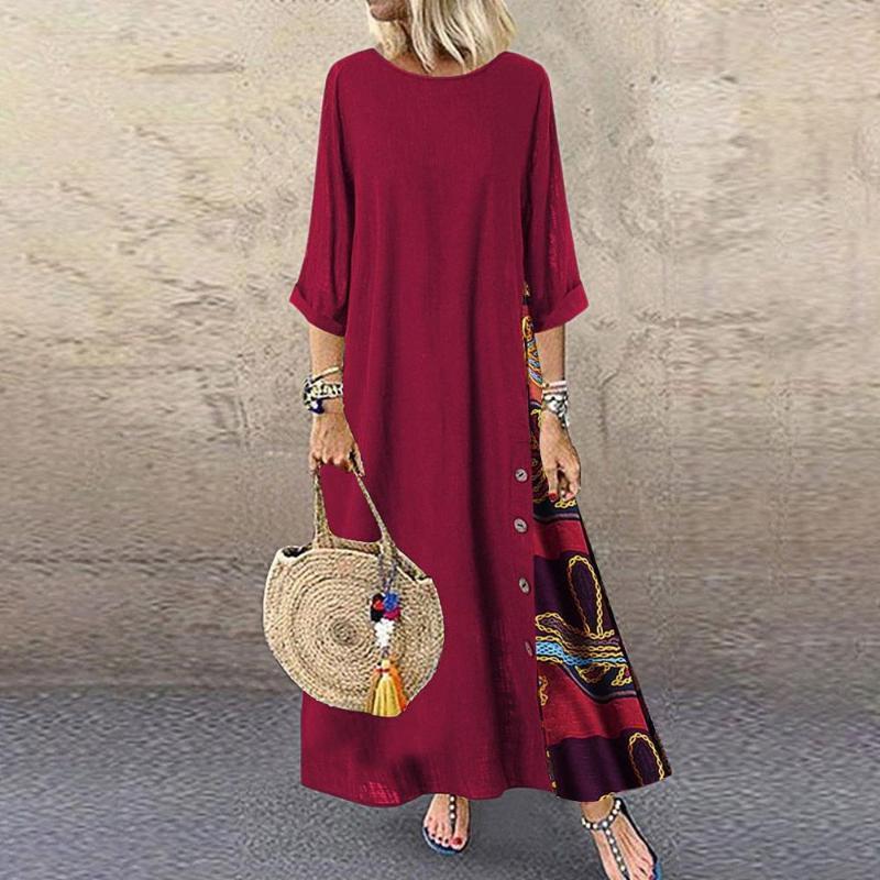 Mulheres casuais patchwork longo mangas o-pescoço botão alto bainha baixa plus size vestido solto cor sólida vestidos de roupas