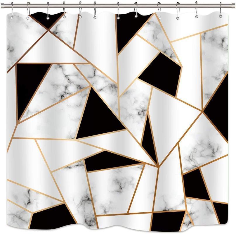 Surface géométrique noire et blanche motif craquelé texture art rideaux de douche de la salle de bain décor