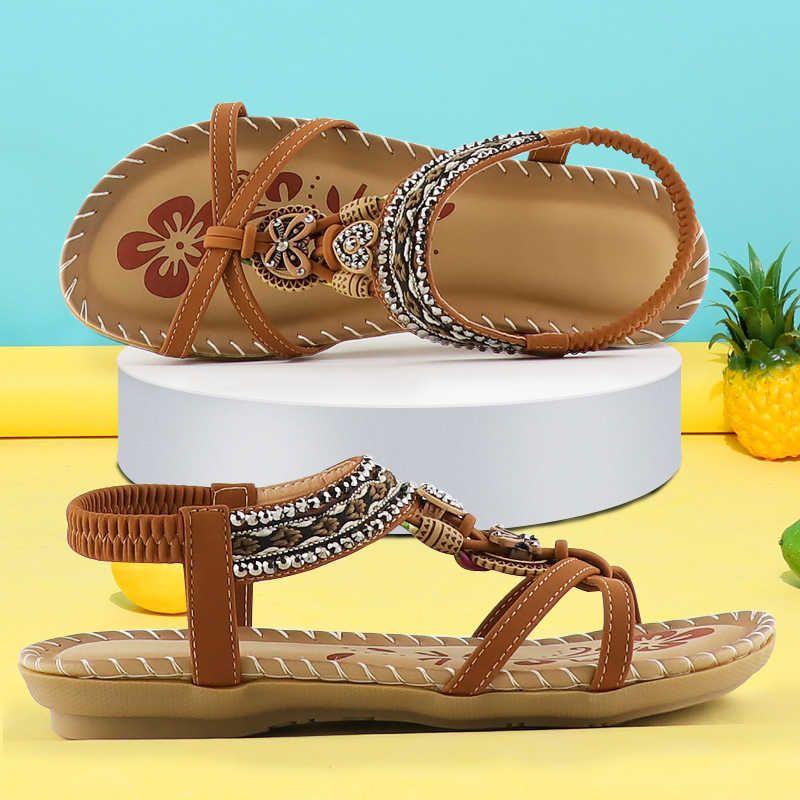 Sandálias retrô das mulheres Moda flor impressão Sapatos de costura sandálias de verão Sandálias Soft Paltform Elastic Band Sandals