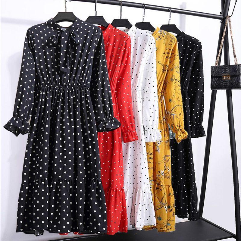 2021 платья повседневная герадина женщины древние цветочные принты шифоновая рубашка длинные mouw poog цветок богемный клуб зима ж