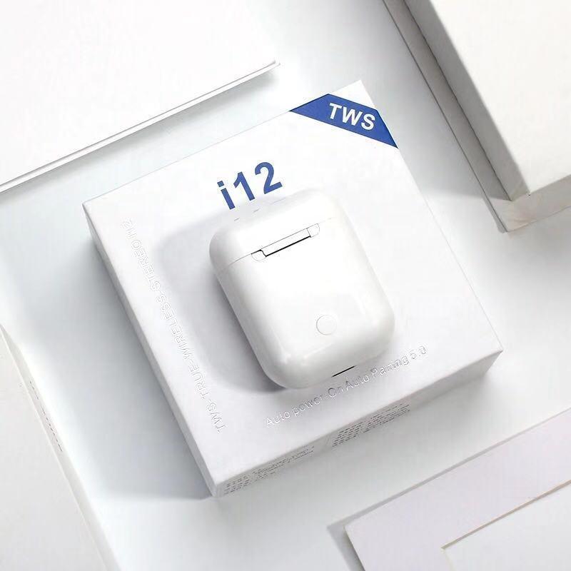 I12 TWS 무선 헤드셋 블루투스 V5.0 이어폰 스테레오 사운드 이어 버드 마이크 충전 상자가있는 창문 위로 창