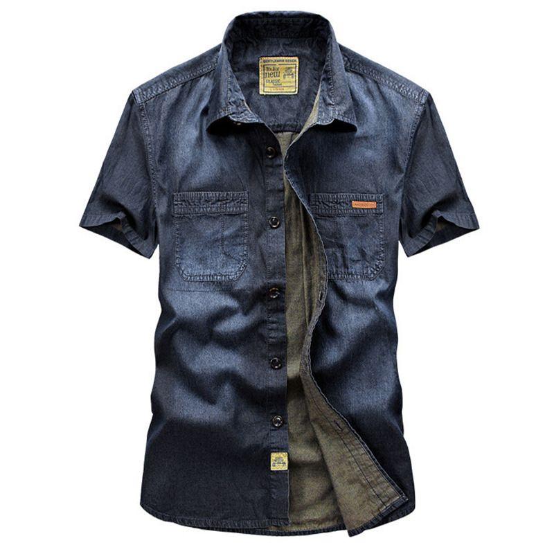 Sim, camisa de manga curta de calça jeans masculina, camisa casual grande fina 6517