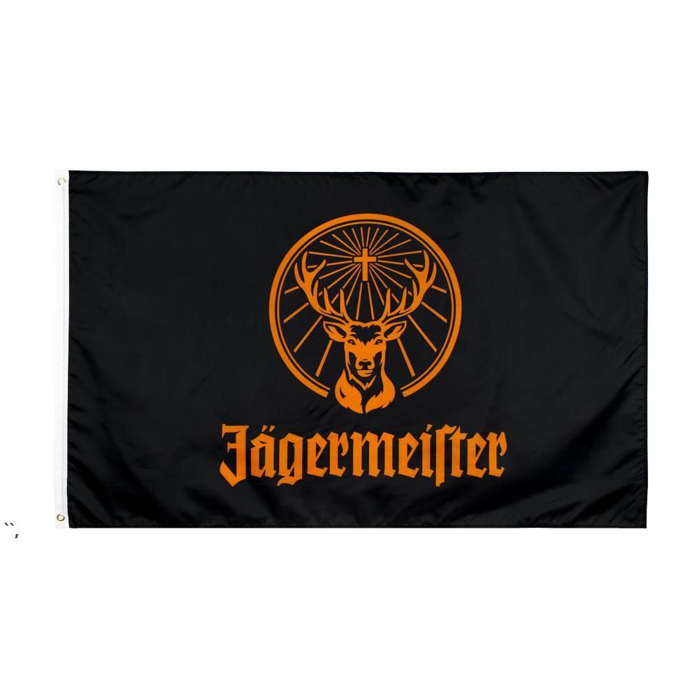 Fabrik Direkter Großhandel doppelt genäht 3x5FTs 90 * 150 cm Black Jagermeister Flagge Leben Flagge für Dekoration Owd5679