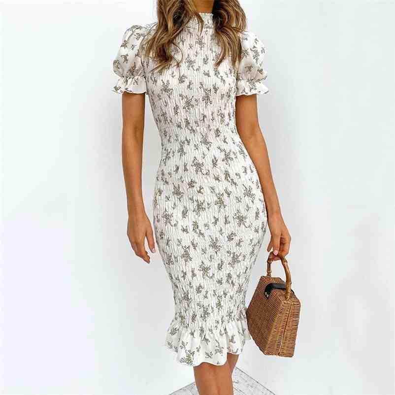 Nedeins Mulheres Vestido Floral Feminino Midi Vestidos Verão Senhora Imprimir Dobra Bodycon Vestido Cintura Alta Plus Tamanho Vestido 210320
