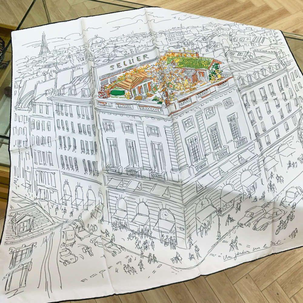 Designerroof di alta qualità Designerroof Garden Mulberry Silk Curl Twill 90cm Grande Sciarpa Square Sciarpa da sole Scialle da sole SCREEN NUOVO