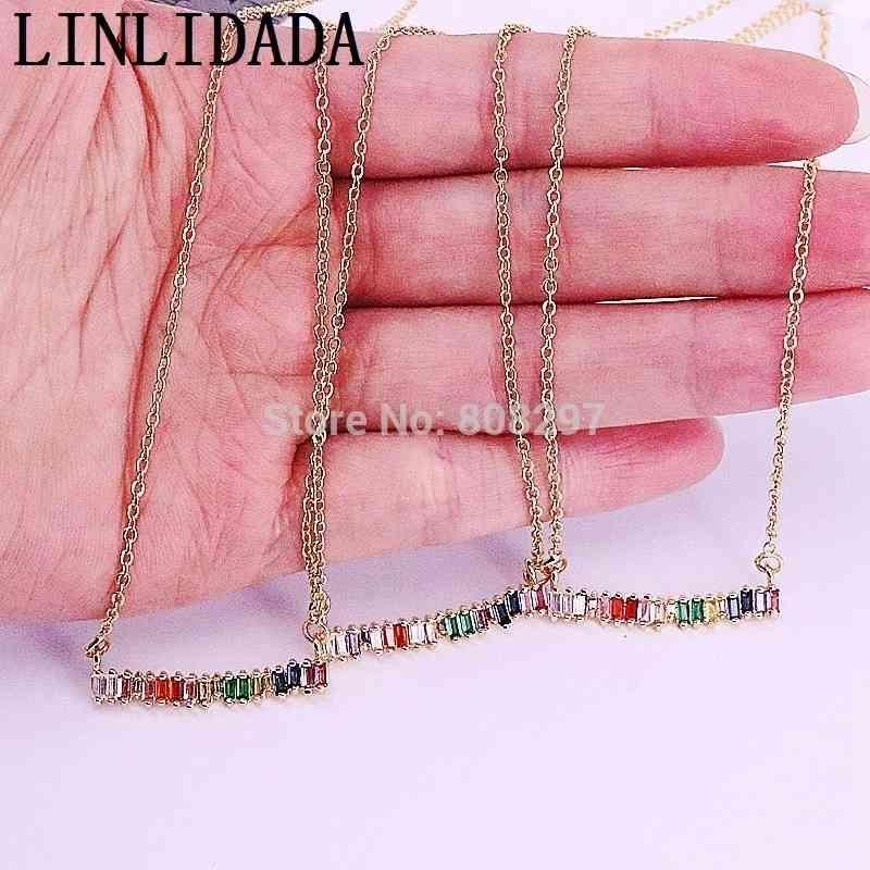 10 pcs cor de ouro micro pavimentar cz cristal forma encantos pingentes colares para mulheres / meninas jóias y19061703
