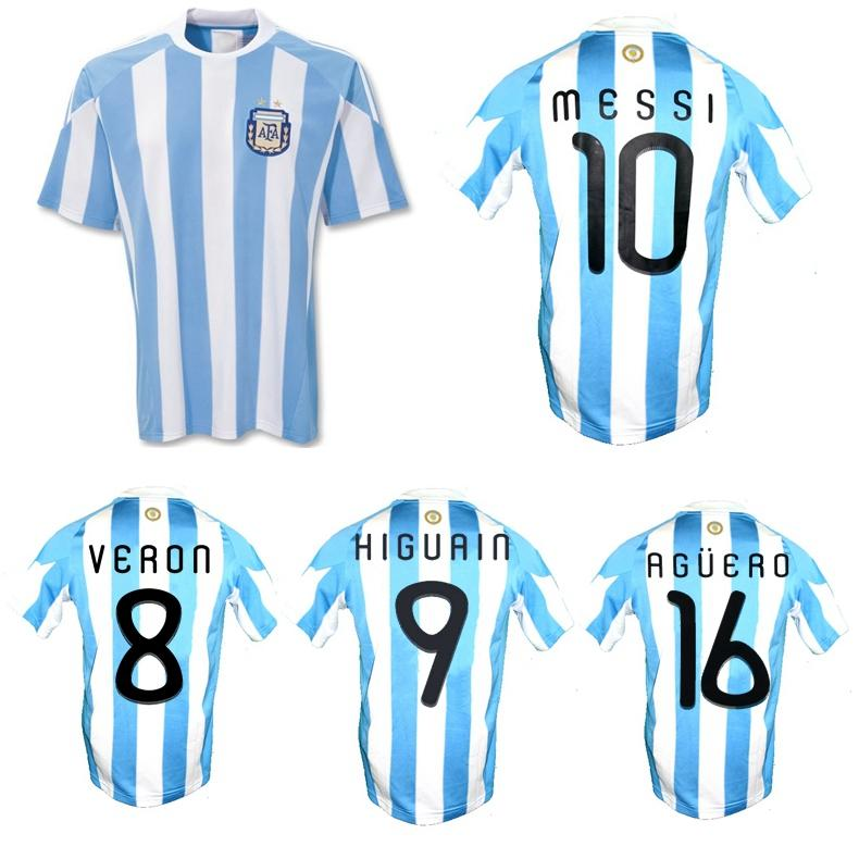 2010 Argentina Retro Jersey Di Maria Messi Veron Mascherano Higuain Tevez Agüero Camisa de Futebol Clássico Vintage