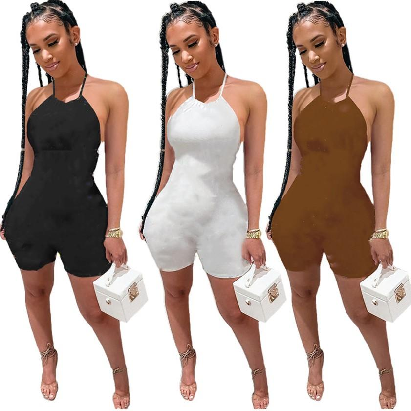 Women halter rompers summer jumpsuits S-2XL backless bodysuit one Piece Shorts Letters Printed Outfits Plus size Tracksuits Jogging suits DHL 4682