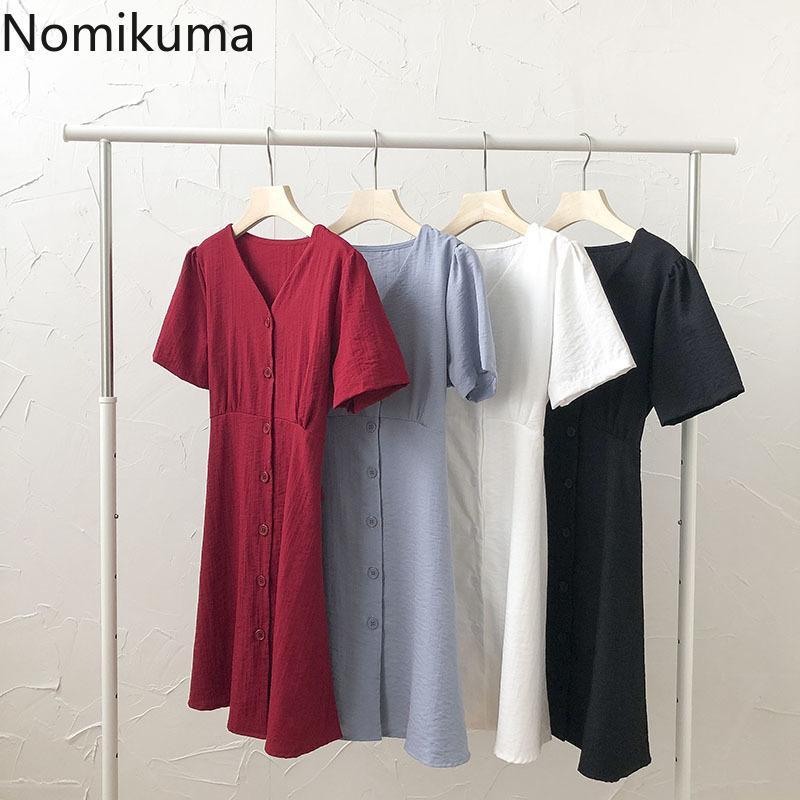 Nomikuma Dress Women Summer Korean Style Short Sleeve Slim Waist A-line Dresses Solid Color Single Breasted Robe Femme 210514