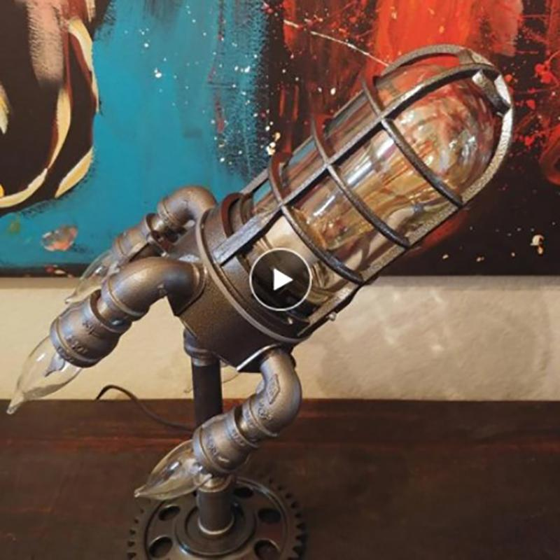Night Lights Retro Steampunk Rocket Lamp Early Father's Day Festival LED Table Cool Light For Home Decoration US/UK/EU/AU Plug