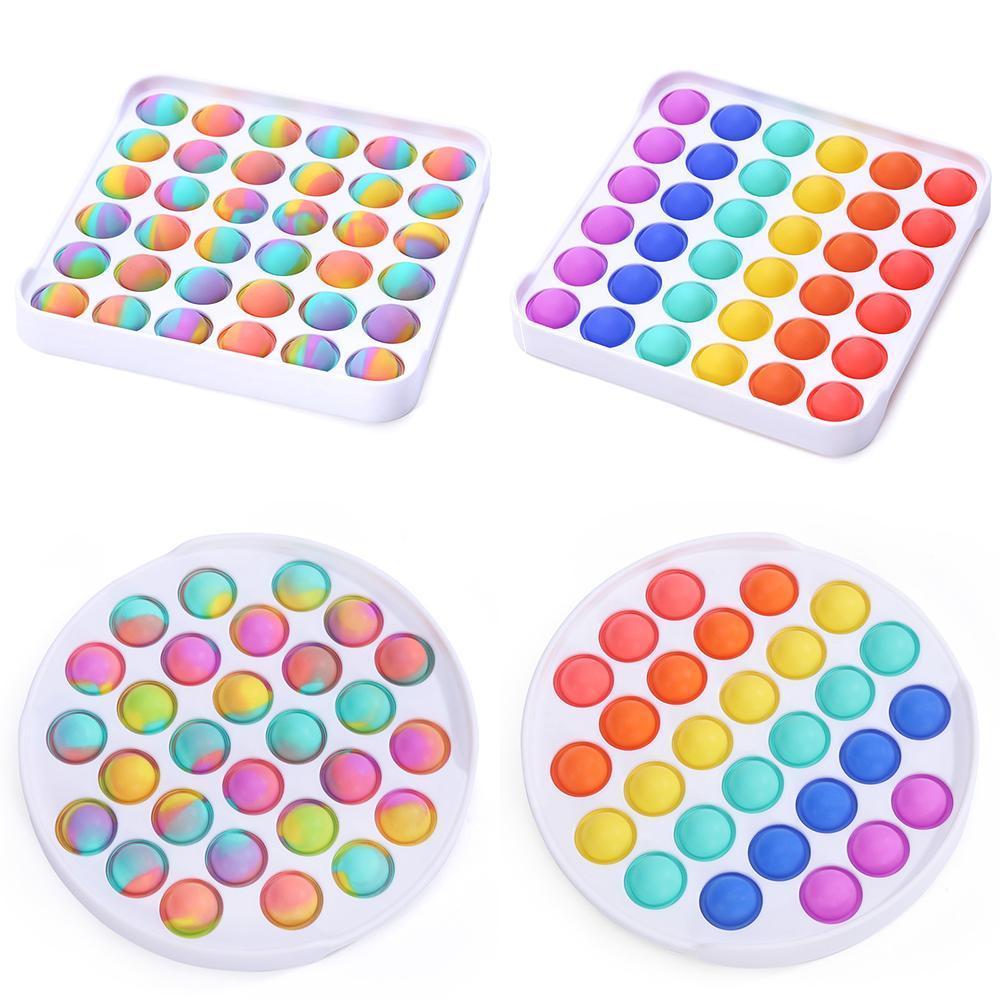 Push it Fidget Toy Decompression Fidger Sensory Bubble Toys Rainbow Anxiety Stress Relief Game