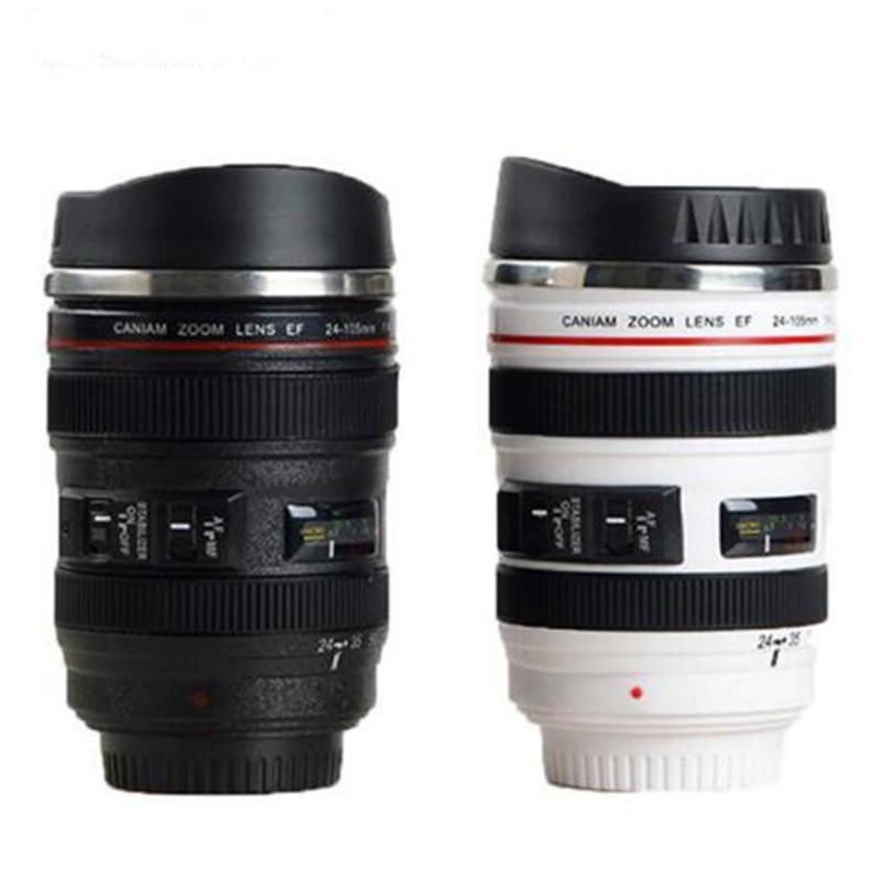 Taza de lente de cámara de 5 generaciones 13.5oz 400ml Acero inoxidable Termos Termos Tumbler Frasco Tazas de café con lácteas retráctiles selladas LL7K