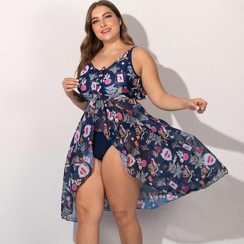 Traje de baño grande Tallas grandes Mujer Swimdress Big Swimsuit Vestido Shorts Female One Piece Bath Traje Verano 5xl Para Gorra Swim Wear