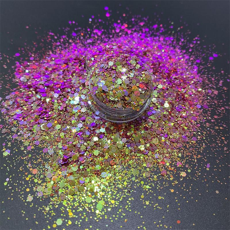 Nagelglitter lila Gold Chamäleon für DIY Nägel Kunst Körpergesicht Farbe-Shifting Chunky Paillettenpulver Staub Handwerk Dekoration