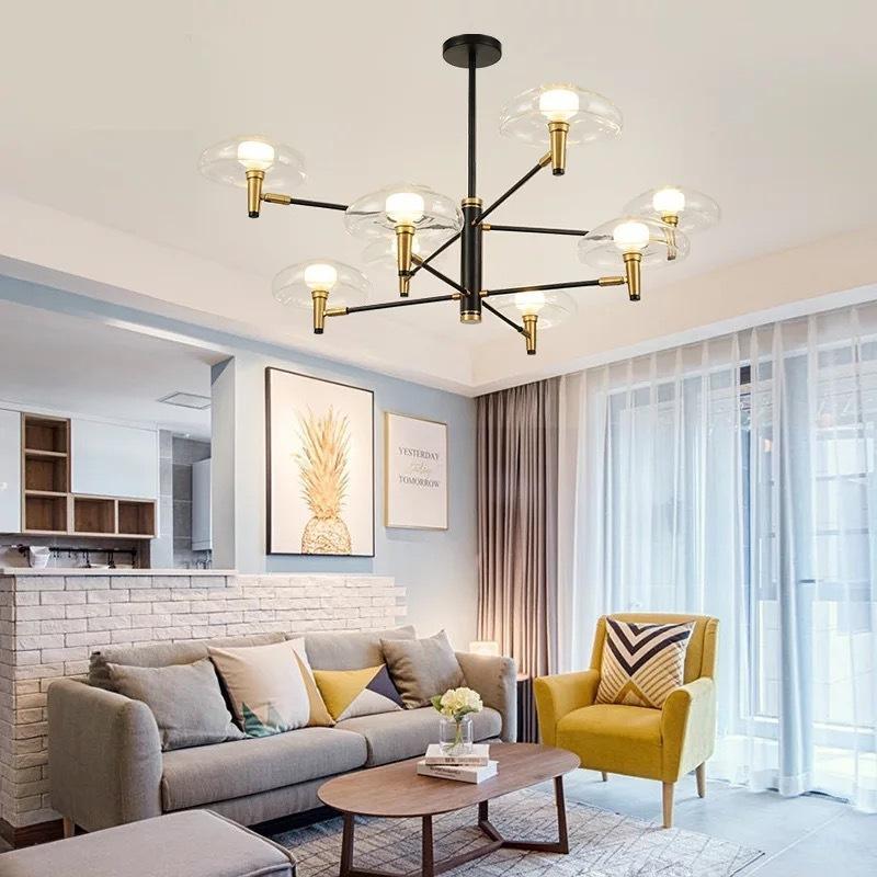 Nórdio moderno conduzido de pedra de pedra jantar bar lustre pendente pendurado luzes sala de estar lâmpada industrial lustres de sala de estar