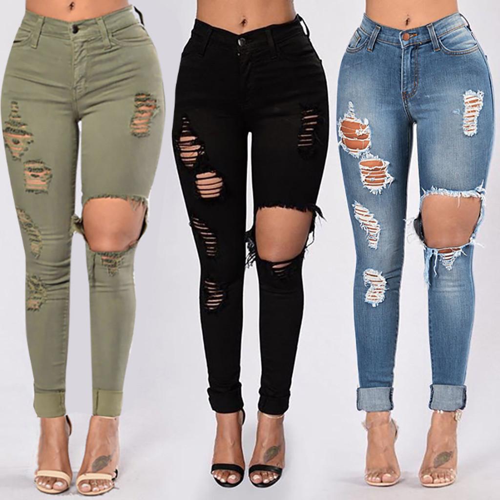 Grand trou 2021 Jeans élastique d'été pour femmes avec pantalon de taille haute Black Green Denim Pants # 0318g30