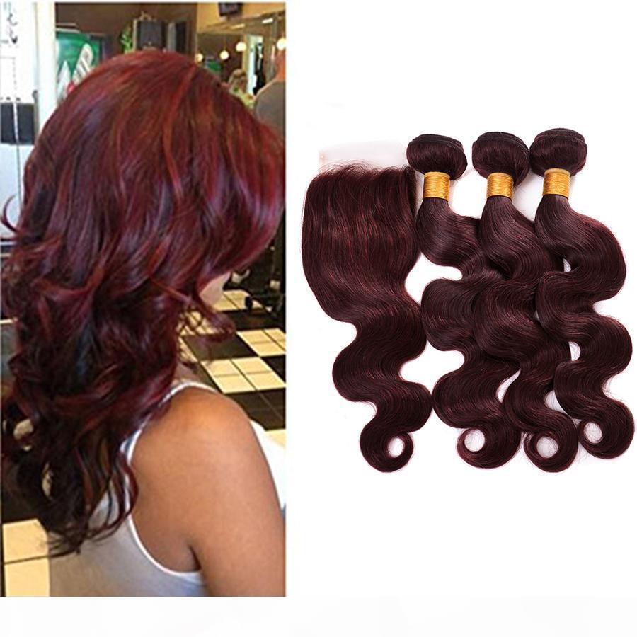 7A 99J Red Peruano Body Wave Human Hair Extension 3 paquetes Dark Wine Color rojo Peruano Virgen Pelo Borgoña Tejido con cierre