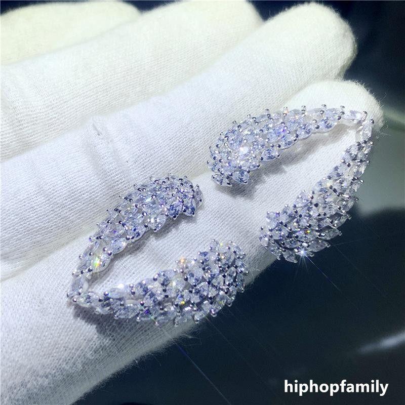 Köpüklü 925 Ayar Gümüş Tam Beyaz Topaz CZ Elmas Eternity Kanat Düğün Nişan Moda Tüy Yüzük
