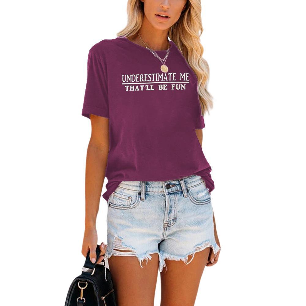 Carney Femenina Top Fashion Casual letra Impresión Cuello redondo Cuello de manga corta Camiseta