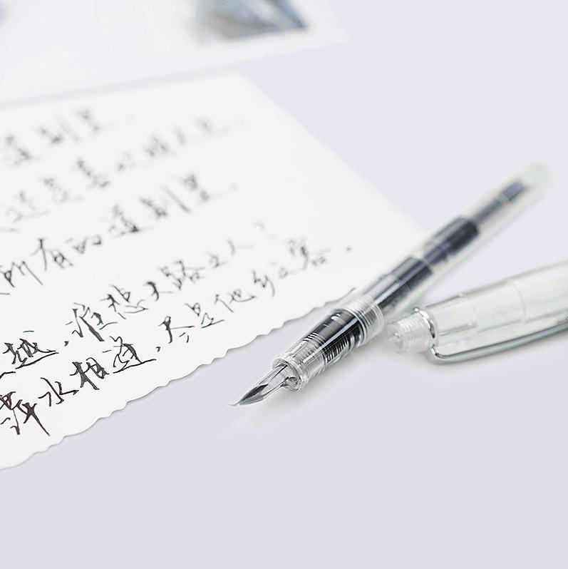 Canetas de fonte 5 pcs / set 0.8mm pistão transparente caneta recarregável caligrafia tinta de escrita para negócios estudante escritório papelaria presente