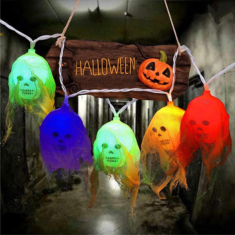 Halloween Ghost Lampe String Gauze Skull LED String Light Ghost Holiday Atmosphère Ghost House Garden Horreur Lanterne Décorative