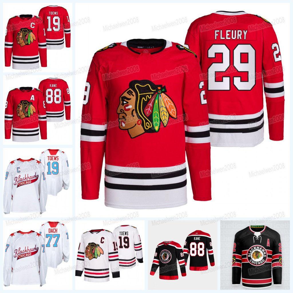 29 Marc-Andre Fleury Chicago Blackhawks 2021-22 Seth Jones Jersey Patrick Kane Tyler Johnson Kirby Dach Jonathan Toews Clark Griswold Debrincat Connor Murphy