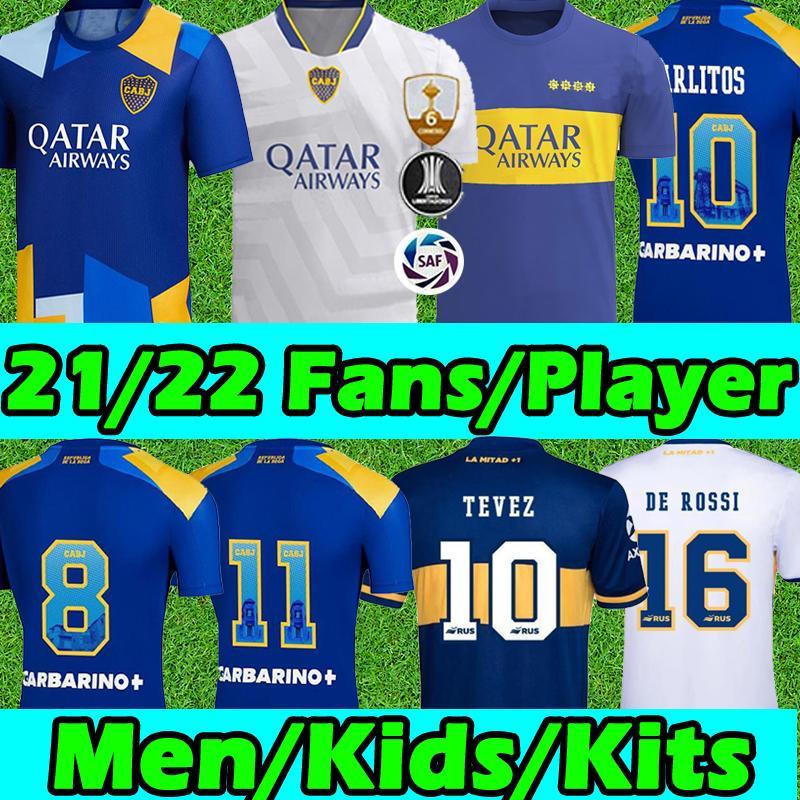 Boca Juniors Fans oyuncu sürümü 21/22 Yeni Futbol jersey soccer jerseys CAVANI CARLITOS MARADONA TEVEZ DE ROSSI 2021 Erkekler çocuklar Ketler futbol jerseys