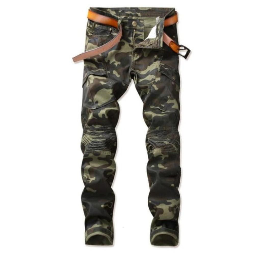 2020 Fashion New Men's Denim Camouflage Print Pants Casual Stretch Jeans Male Personality Slim Trousers Plus Size