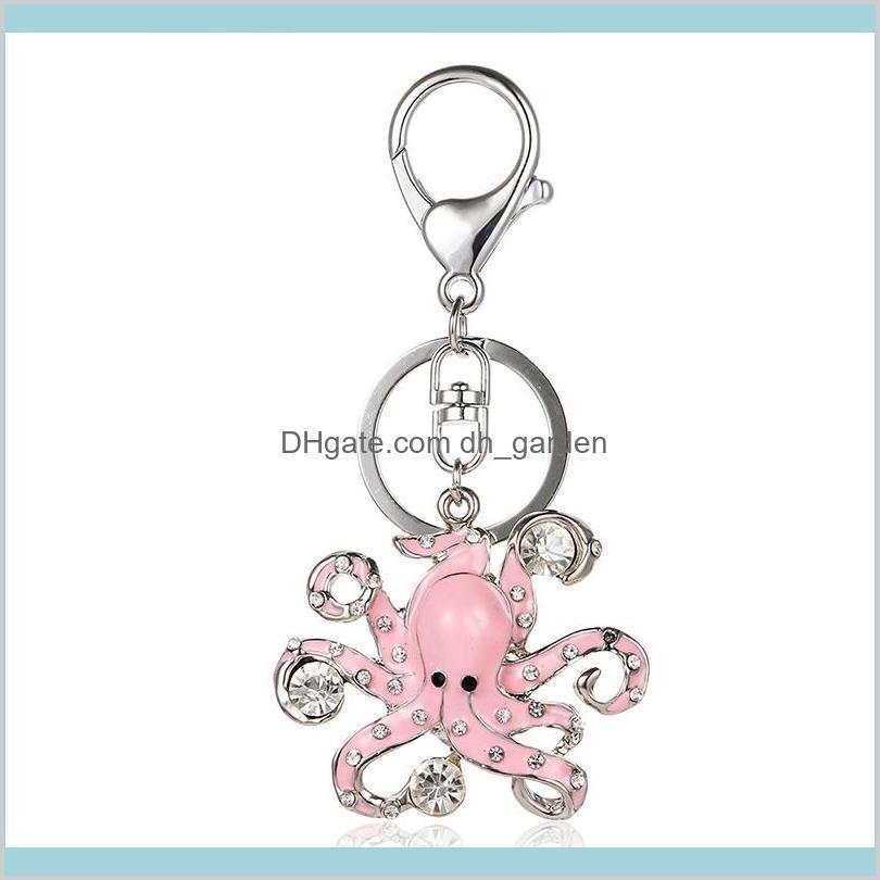 Accesorios Plata Color Metal Langosta Cescar Llavero Cuelga Drinestone Esmalte Octopus Animal Charm Para Hombres Joyería LK1OX