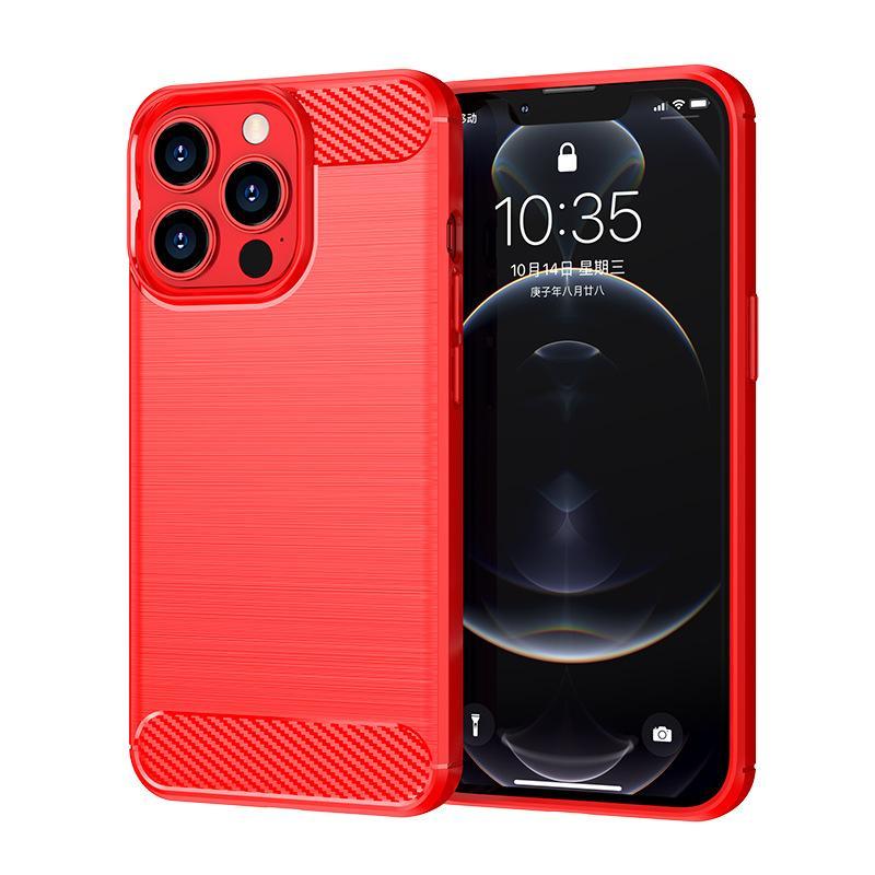 Cajas de TPU de la textura delgada de la textura de la fibra de carbono Cubiertas para iPhone 13 Pro Max 12 11 1.5mm 280pcs // Lot