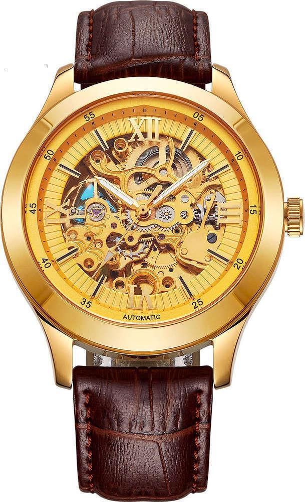 Reloj automático chapado mecánico de alta calidad de oro negocio de moda para hombres