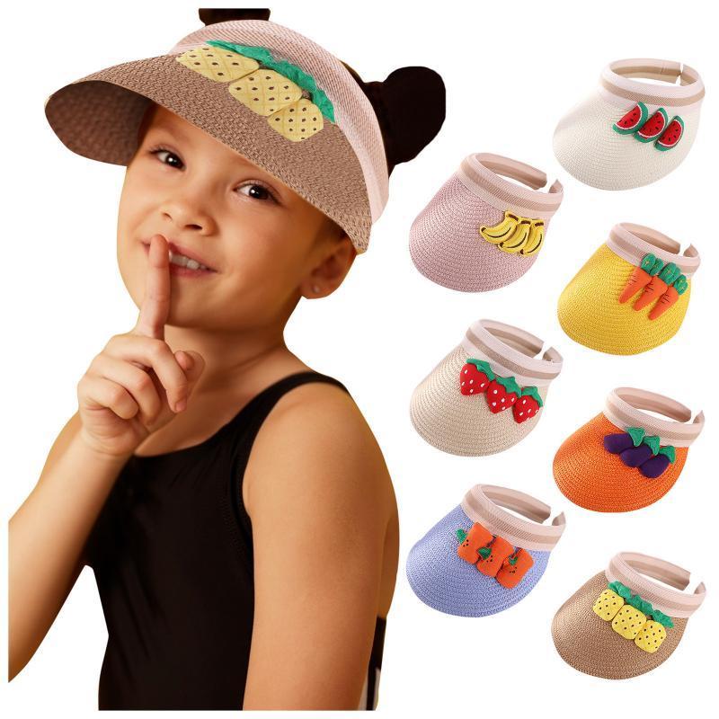 Caps Hats 2021 летние дети дети детские мальчики девочки мультфильм фруктовые козыреки солнце шляпа соломенная детская одежда открытый солнцезащитный крем