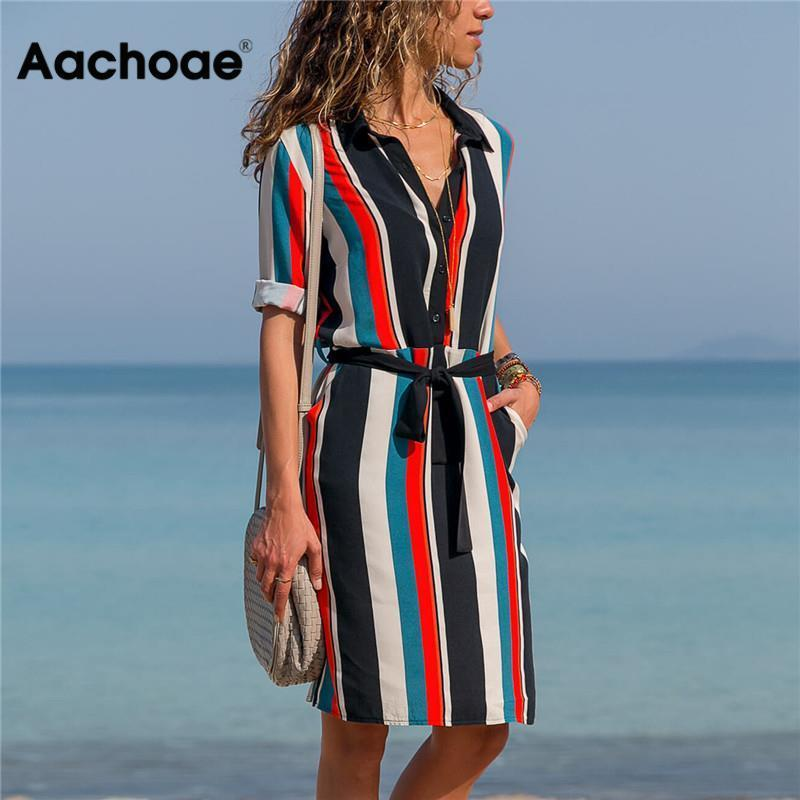 2021 платья AACHOAE летом разделить A-Line Print Boho Beach ES ES женщин Длинная рубашка Mouwen Office Jurk Mini Party Vestidos