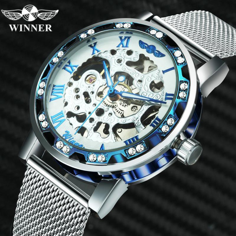 Altın Erkek Saatler İskelet Mekanik Analog İzle Adam Kristal Buzlu Out Kol Çelik Örgü Kayış Saat Saatı