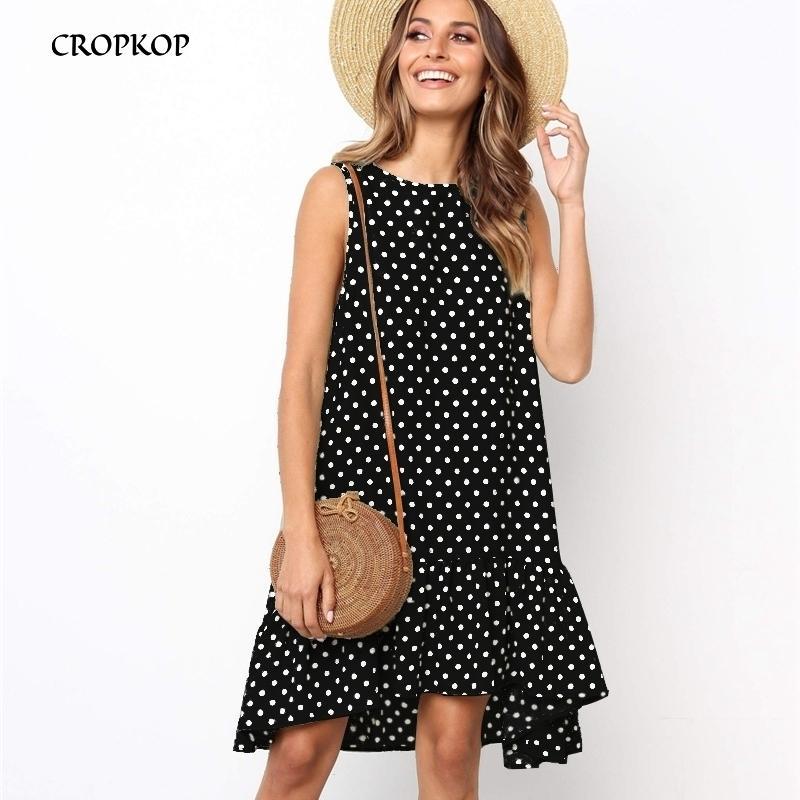 Женщины летнее платье оборками в горошек без рукавов мини-платья плюс размер повседневные свободные черные пляжные сарафан женская одежда 210319