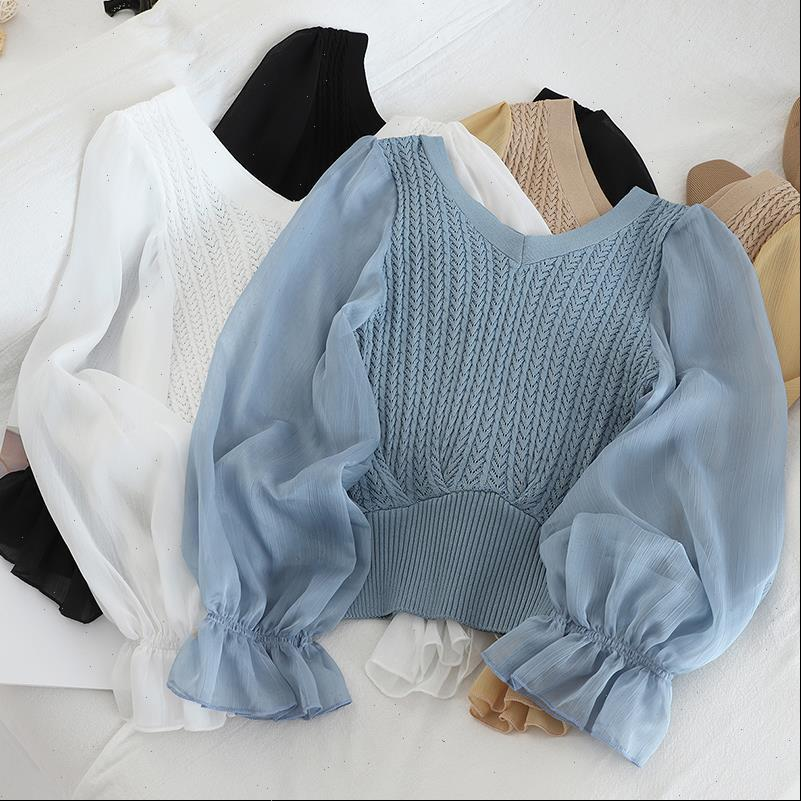 Solid V Neck Chiffon Trim Womens Shirts Peplum Full Sleeve Elastic Spring Female Top and Blouse For Women