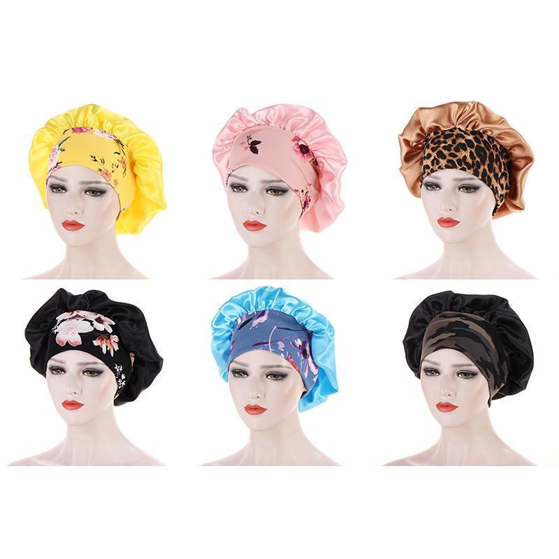 Beanie / Kafatası Kapaklar Bonnet Şapka Kemoterapi Geniş-Brim DEĞİL LE Peruk Saten Elastik Gece Uyku Kap Saç Bakımı Güzellik 1 Adet