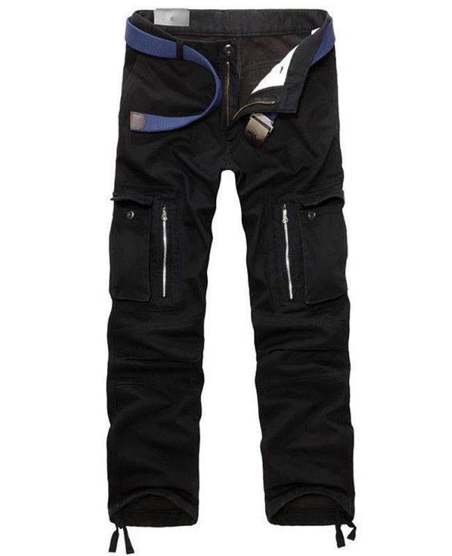 Cargo hiver automne épais taille moyenne courbure pantalon homme pantalon homme avec poches