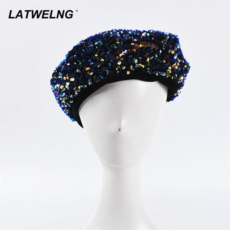 Bayanlar Pullu Bere El-Dikişli Parlayan Nakış Ressam Şapka Kadınlar Siyah Fransız Kap Moda Pillbox Fascinators 210429