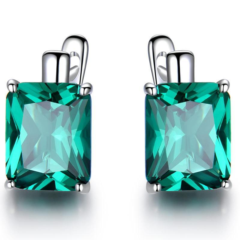 Orecchini di pietra gemma di lusso smeraldo per le donne 925 sterling argento geometria verde cristallo monili da sposa gioielli femminili