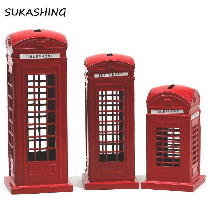 Booth Londres Teléfono Rojo Muere More Moneclado Caja Piggy Bank UK Souvenir S for Kids Home Christmas Decoration 210607