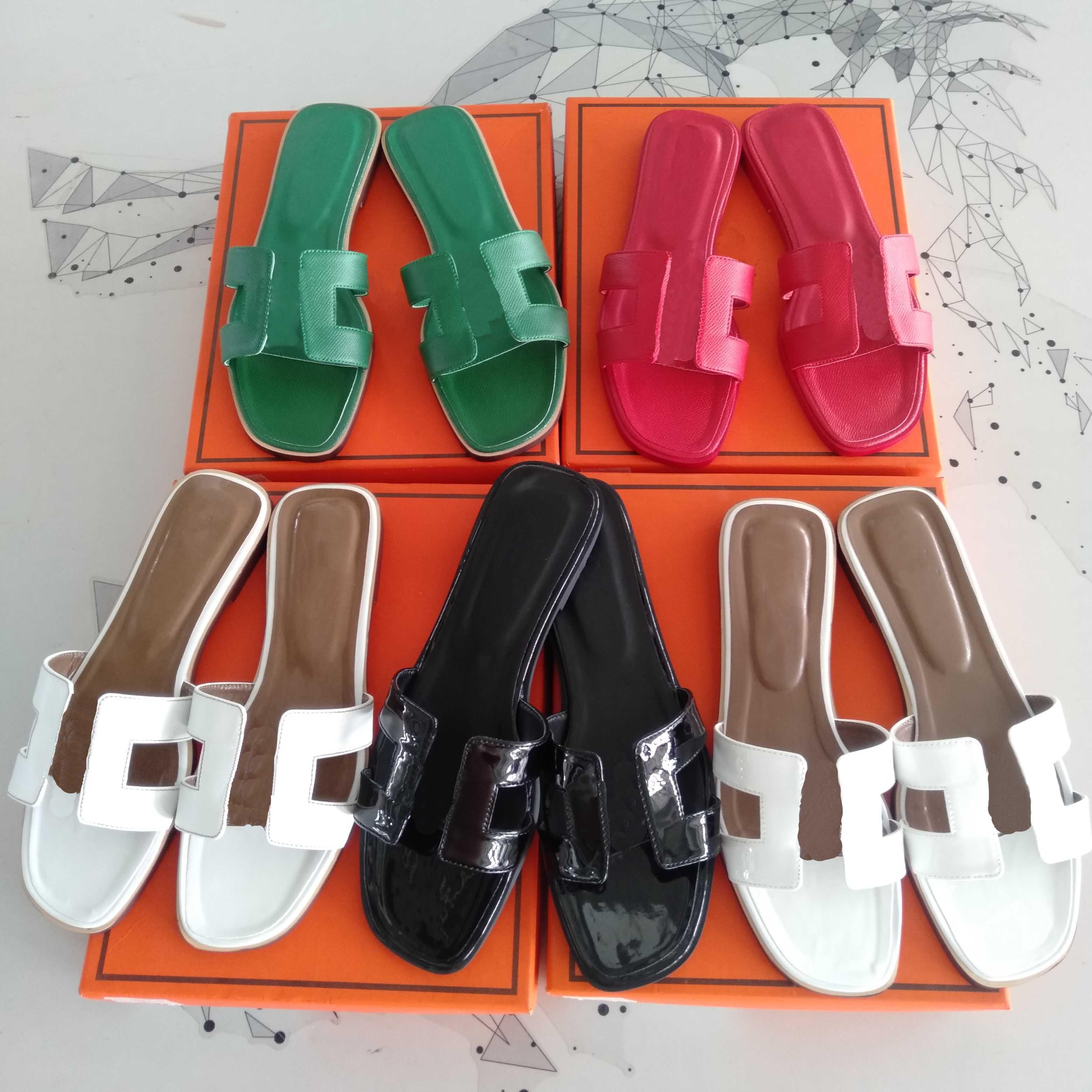 2021 Designer Donne Pantofole Sandali in vera pelle Sandali Estate Orano Flacchino Flip Flop Pelle di coccodrillo Slift Skins Ladies Beach Sandalo Luxury Party Slipper da sposa con scatola